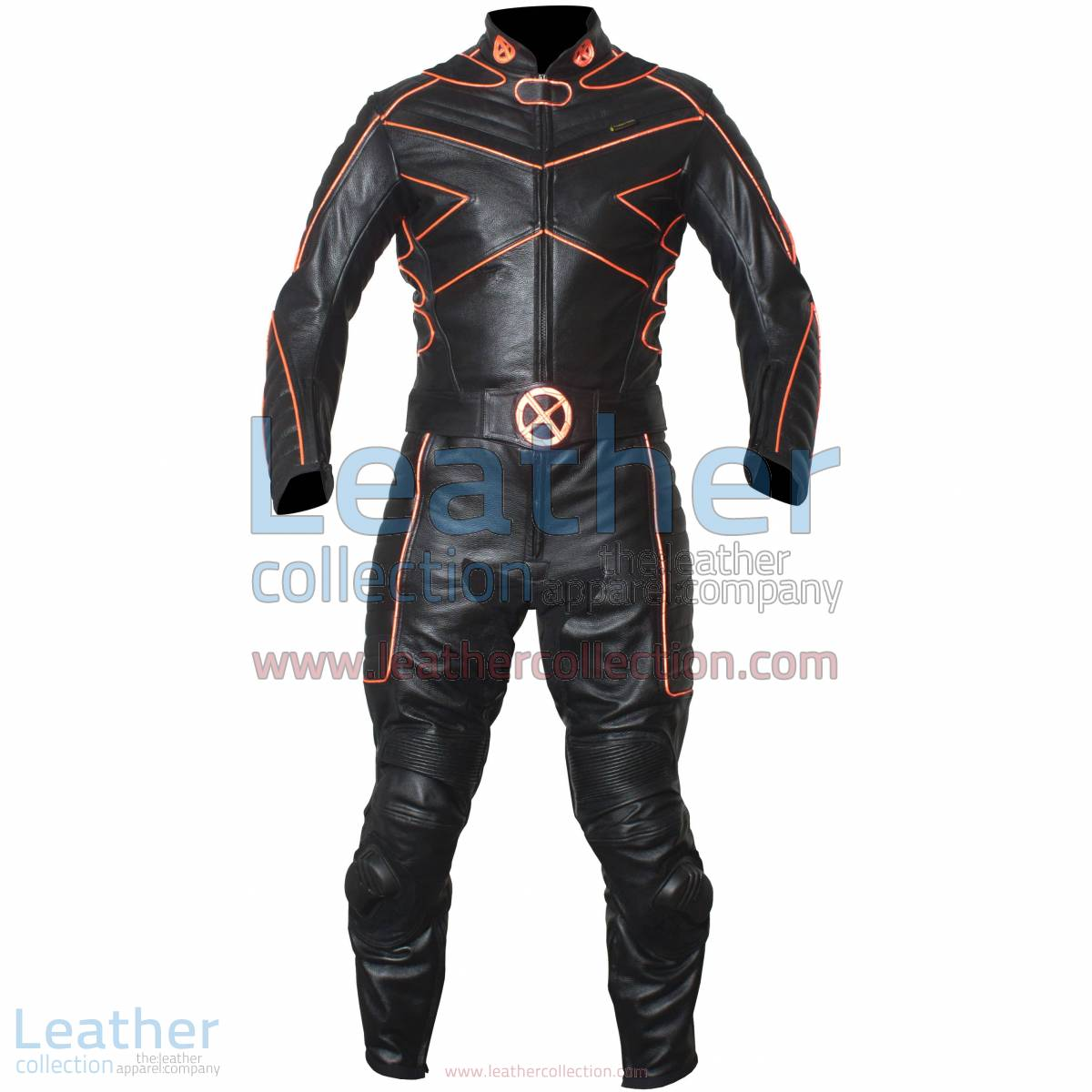X-MEN Motorcycle Racing Leather Suit with Orange Piping   Motorcycle racing suit,X-MEN suit