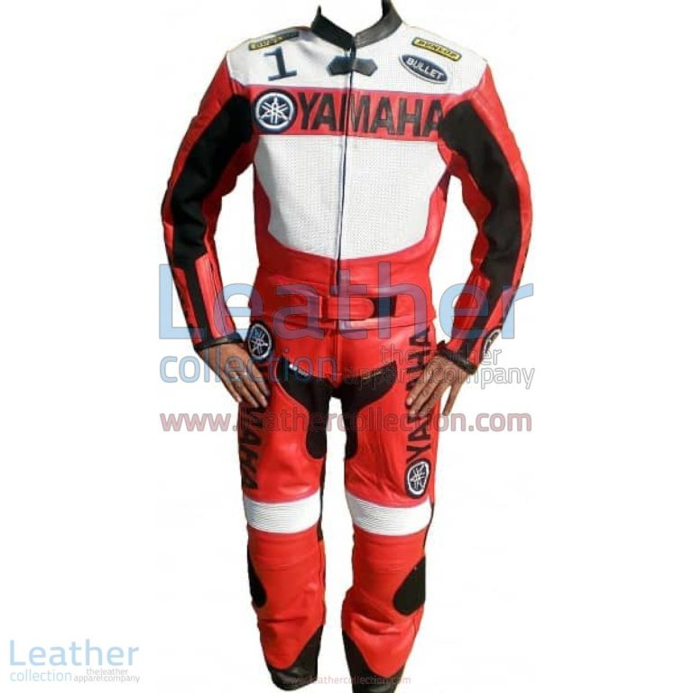 Yamaha Motorbike Leather Suit Red / White | yamaha apparel,yamaha leather suit