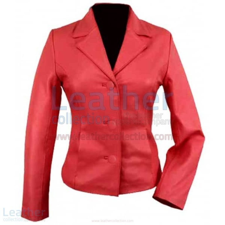 3 Button Red Short Ladies Leather Blazer –  Jacket