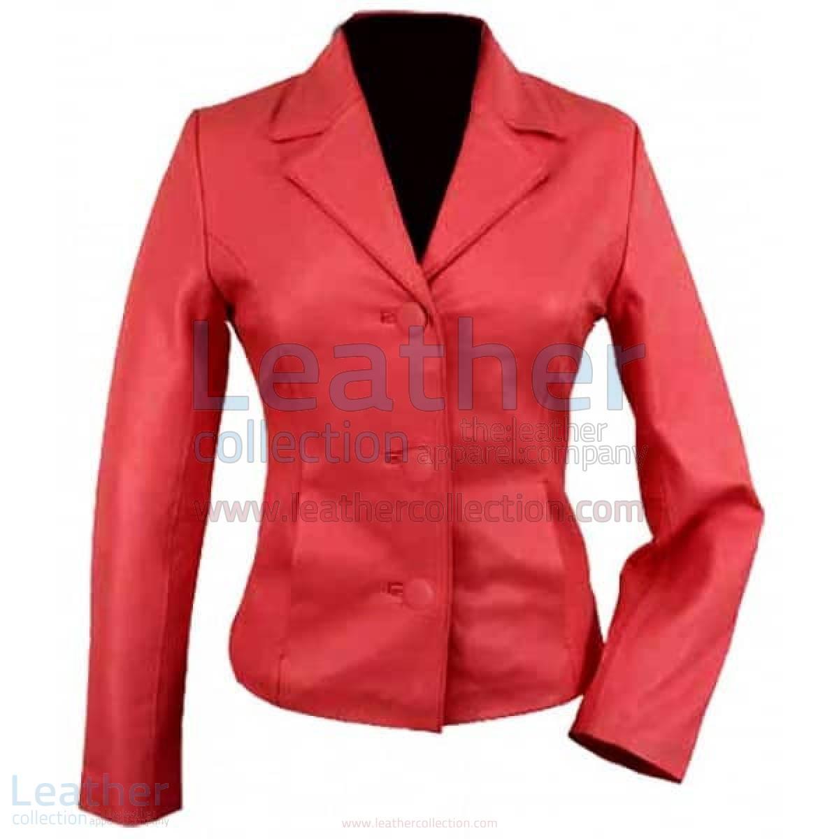 3 Button Red Short Ladies Leather Blazer –  Jacket