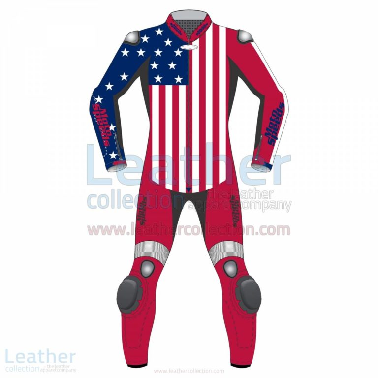 American Flag Leather Motorcycle Suit –  Suit