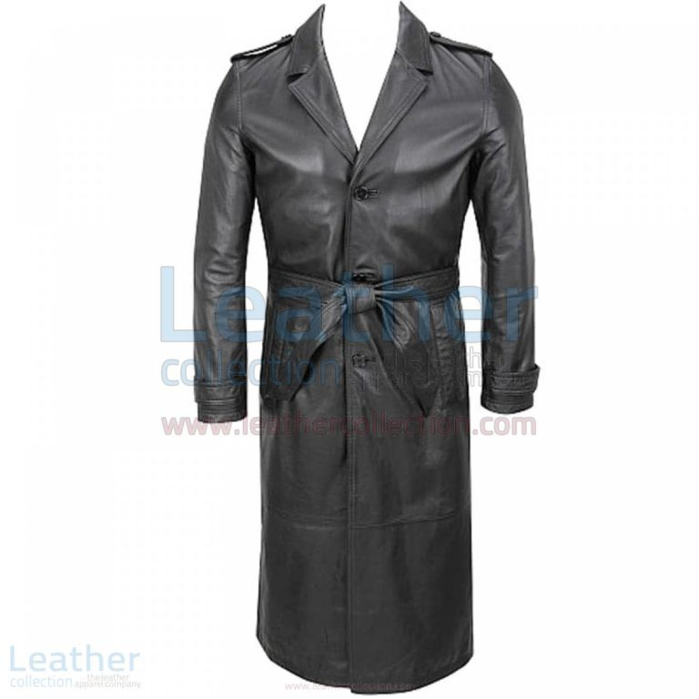 Classic Leather Long Mens Belted Trench Coat –  Coat