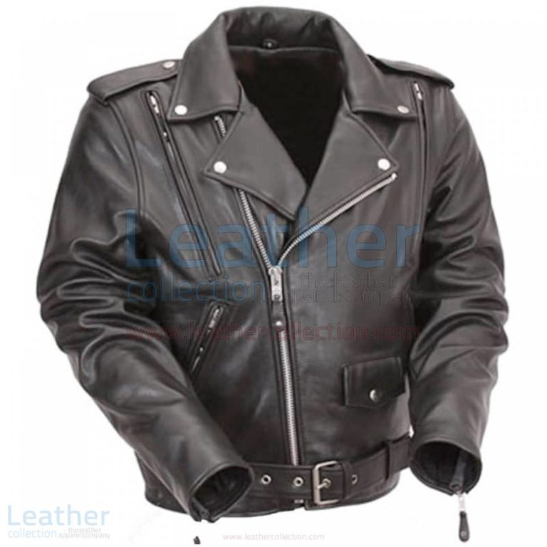 Black Leather Motorcycle Jacket with Exclusive Built-in Back Support –  Jacket