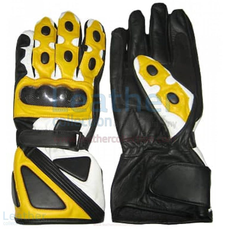 Bravo Yellow Leather Biker Gloves –  Gloves