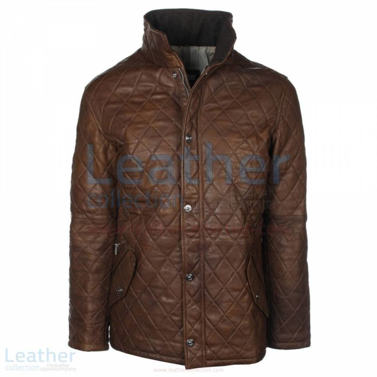 Brown Diamond Leather Jacket –  Jacket