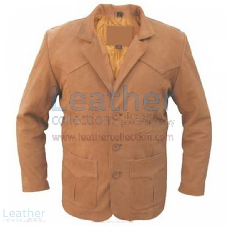 Brown Men Leather Blazer –  Coat