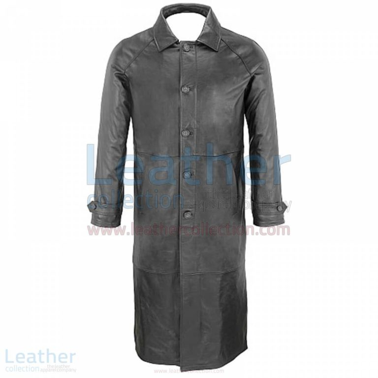 Classic Black Leather Trench Coat Mens –  Coat