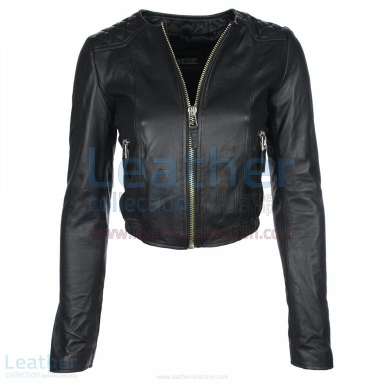 Ladies Short & Collarless Leather Jacket –  Jacket