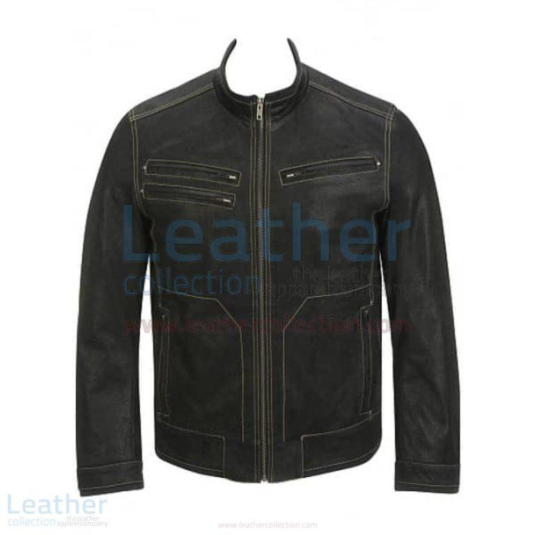 Contrast Stitches Moto Fashion Black Leather Jacket –  Jacket