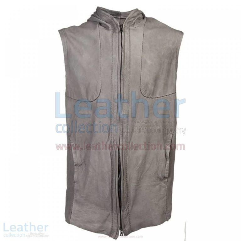 Fashion Hooded Leather Vest –  Vest