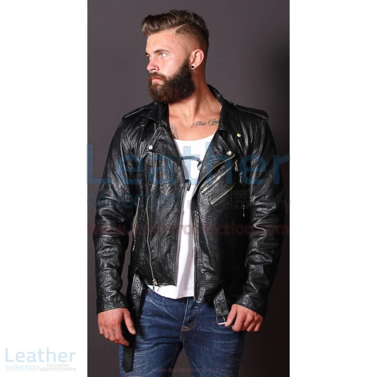Fashion Men Wrinkle Leather Jacket –  Jacket
