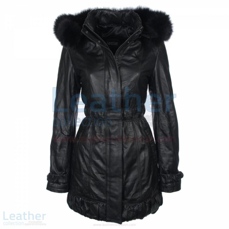 Fur Hooded Leather Coat Women –  Coat