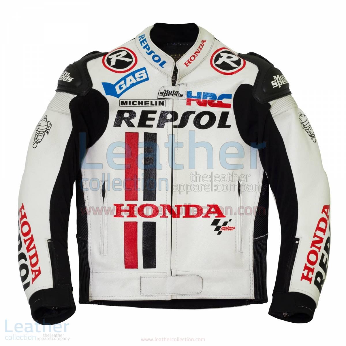 Honda Repsol White Leather Race Jacket - Honda Jacket