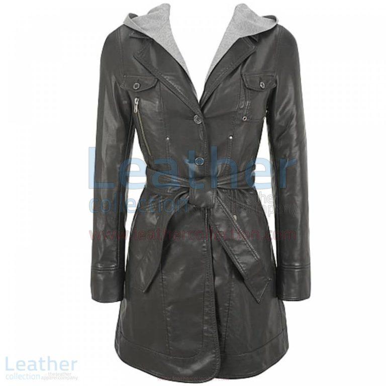 Hooded Leather 3/4 Length Coat Womens –  Coat
