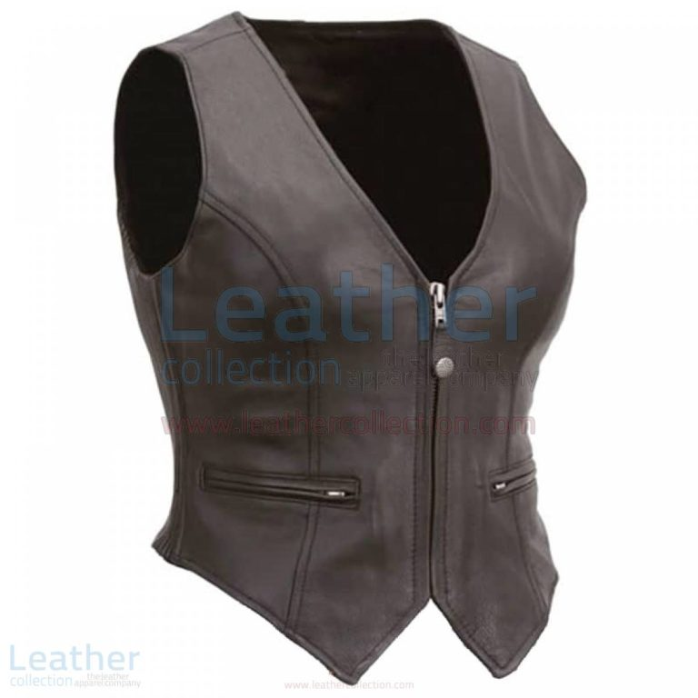 Ladies Motorcycle Leather Zipper Vest –  Vest