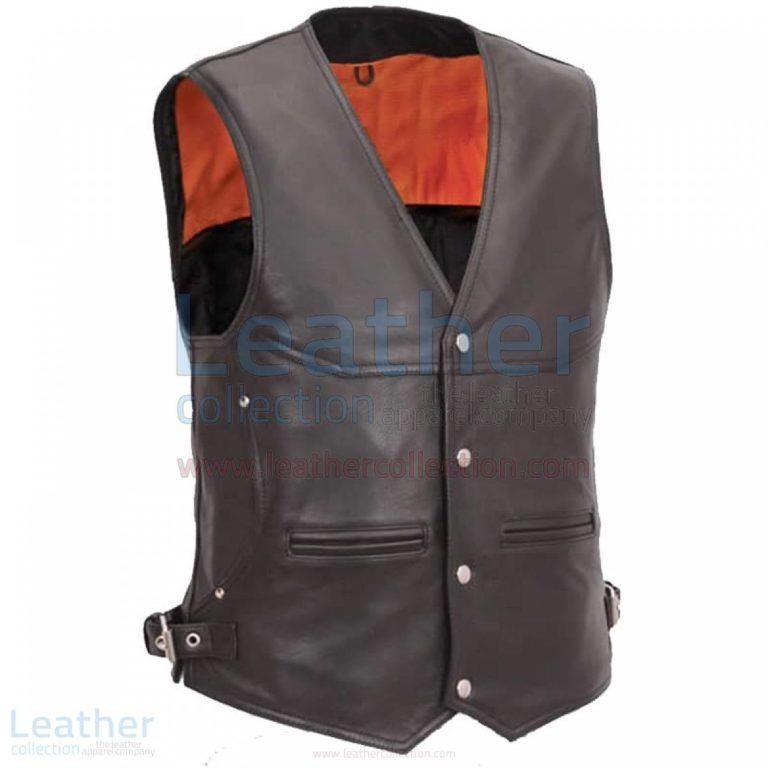 Leather Biker Vest Mens with Deep Front Pockets –  Vest