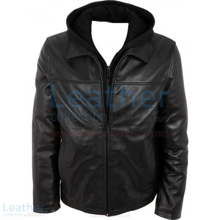 Leather Casual Jacket with Hood –  Jacket