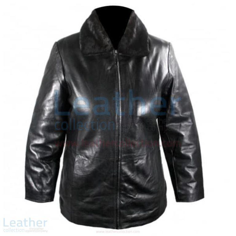 Leather Jacket With Fur Collar –  Jacket