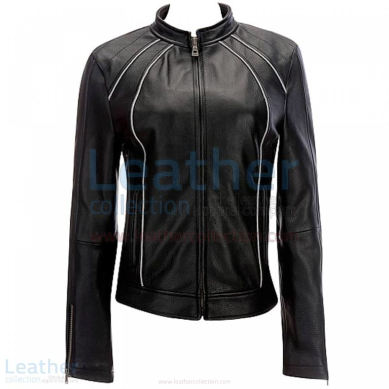 Leather Ladies Riding Jacket With Piping –  Jacket