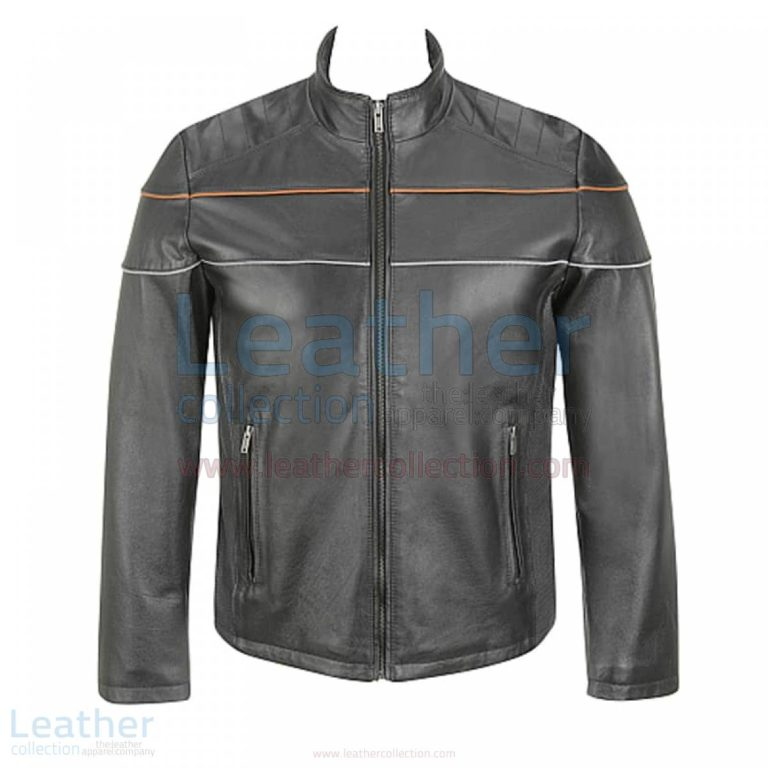 Black Leather Moto Jacket with Piping on Chest –  Jacket