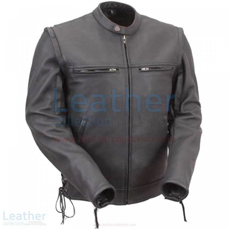 Leather Moto Jacket Men with Zip-Off Sleeves –  Jacket