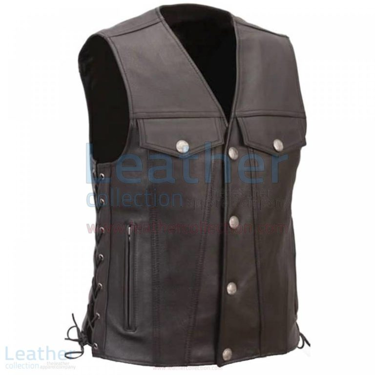 Mens Leather Motorcycle Vest with Buffalo Nickel Snaps –  Vest