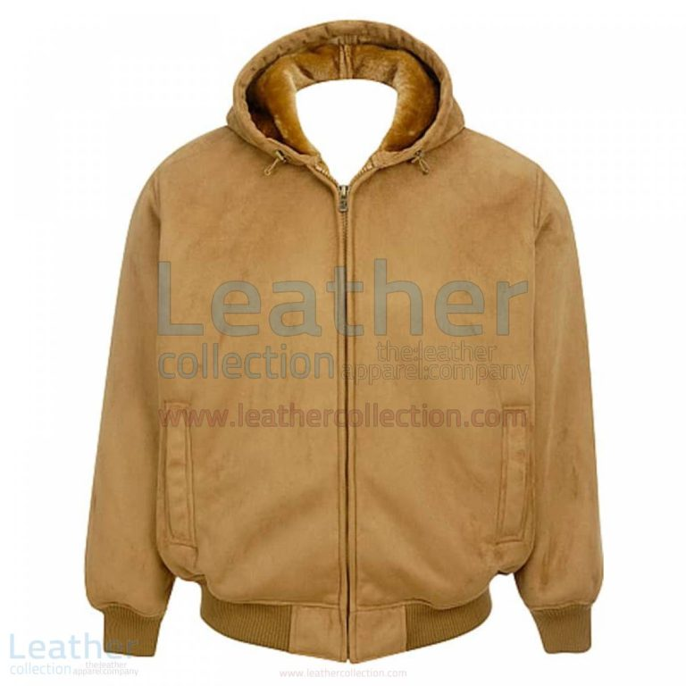 Leather Shearling Hooded Bomber Jacket Mens –  Jacket
