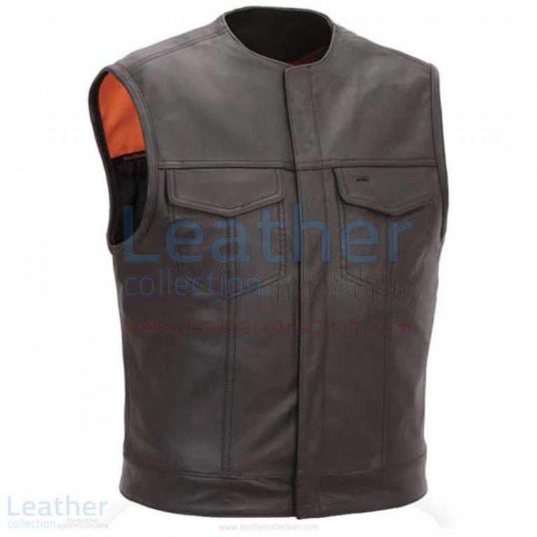 Men Leather Vest with Concealed Snap Front Closure –  Vest