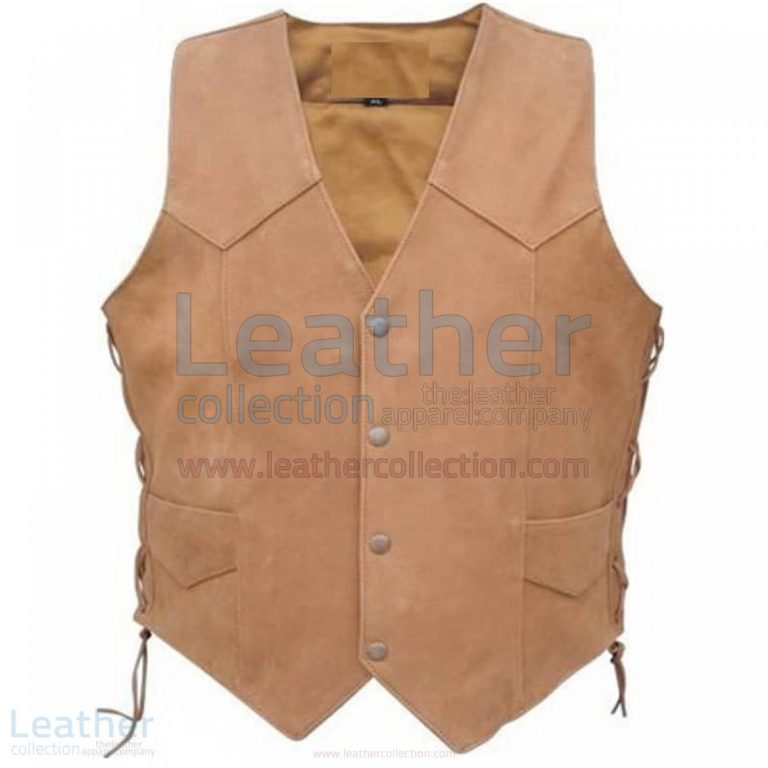 Men's Side Lace Gun Pocket Leather Vest –  Vest