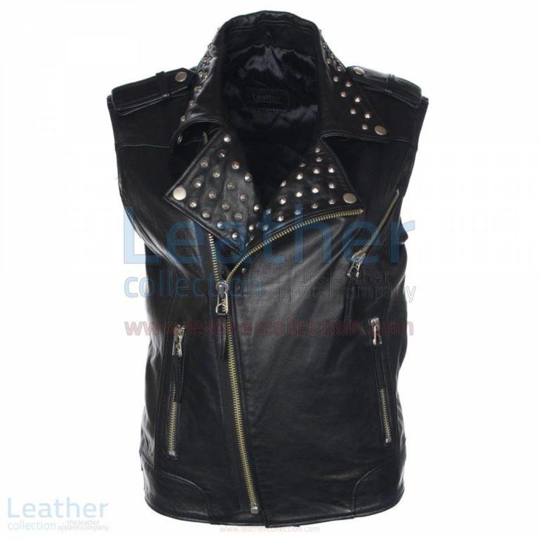 Men Studded Collar Biker Leather Vest –  Vest