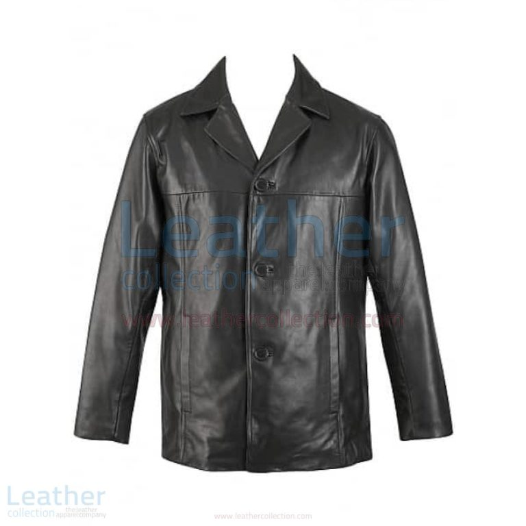Mens 3 Button Leather Blazer –  Jacket