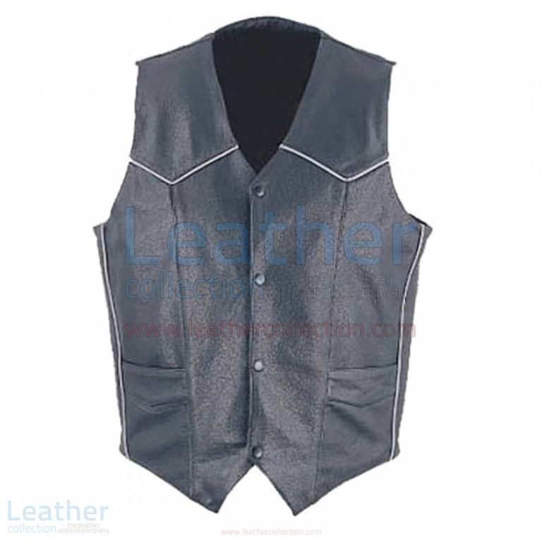 Mens Classic Leather White Piping Vest –  Vest