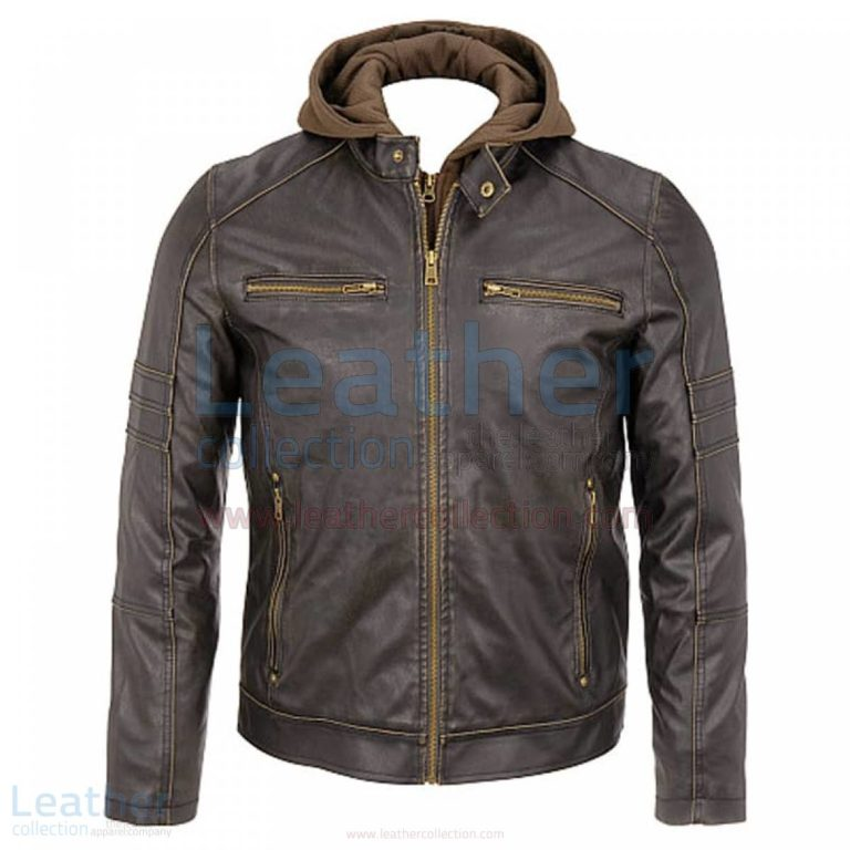 Mens Leather Hooded Jacket –  Jacket
