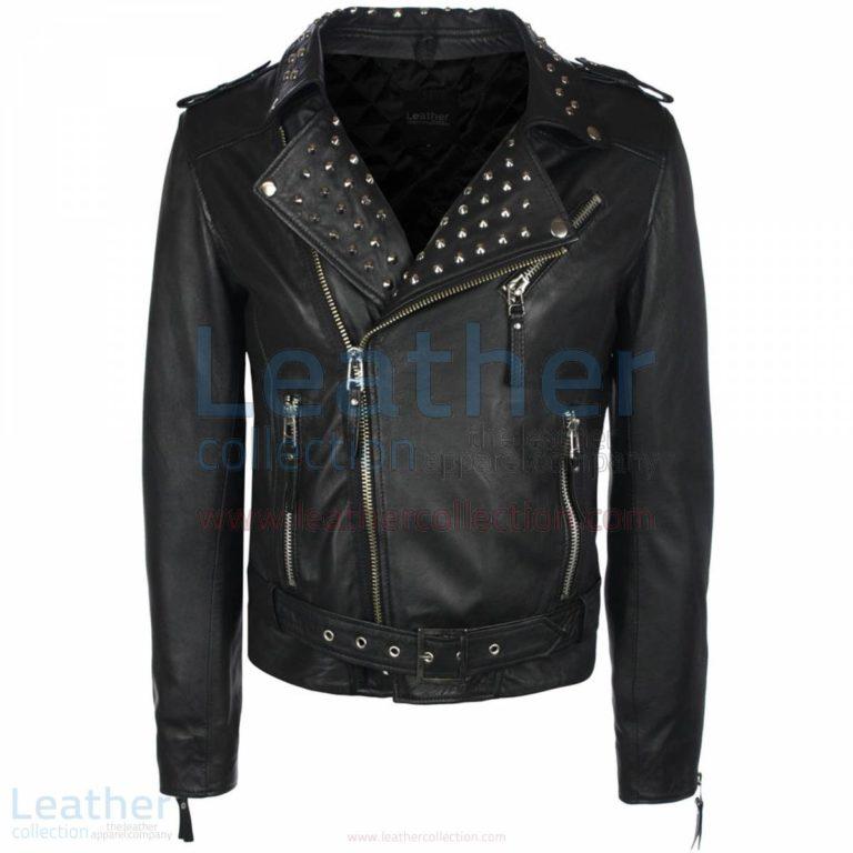 Mens Collar Studded Leather Jacket –  Jacket