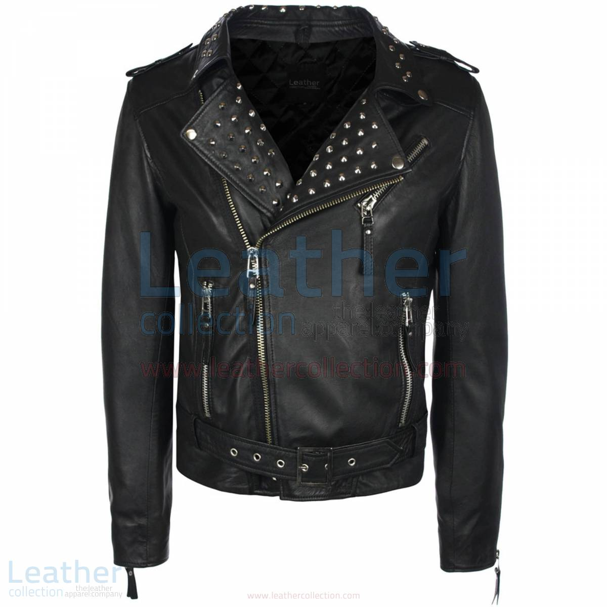 mens leather jacket with collar