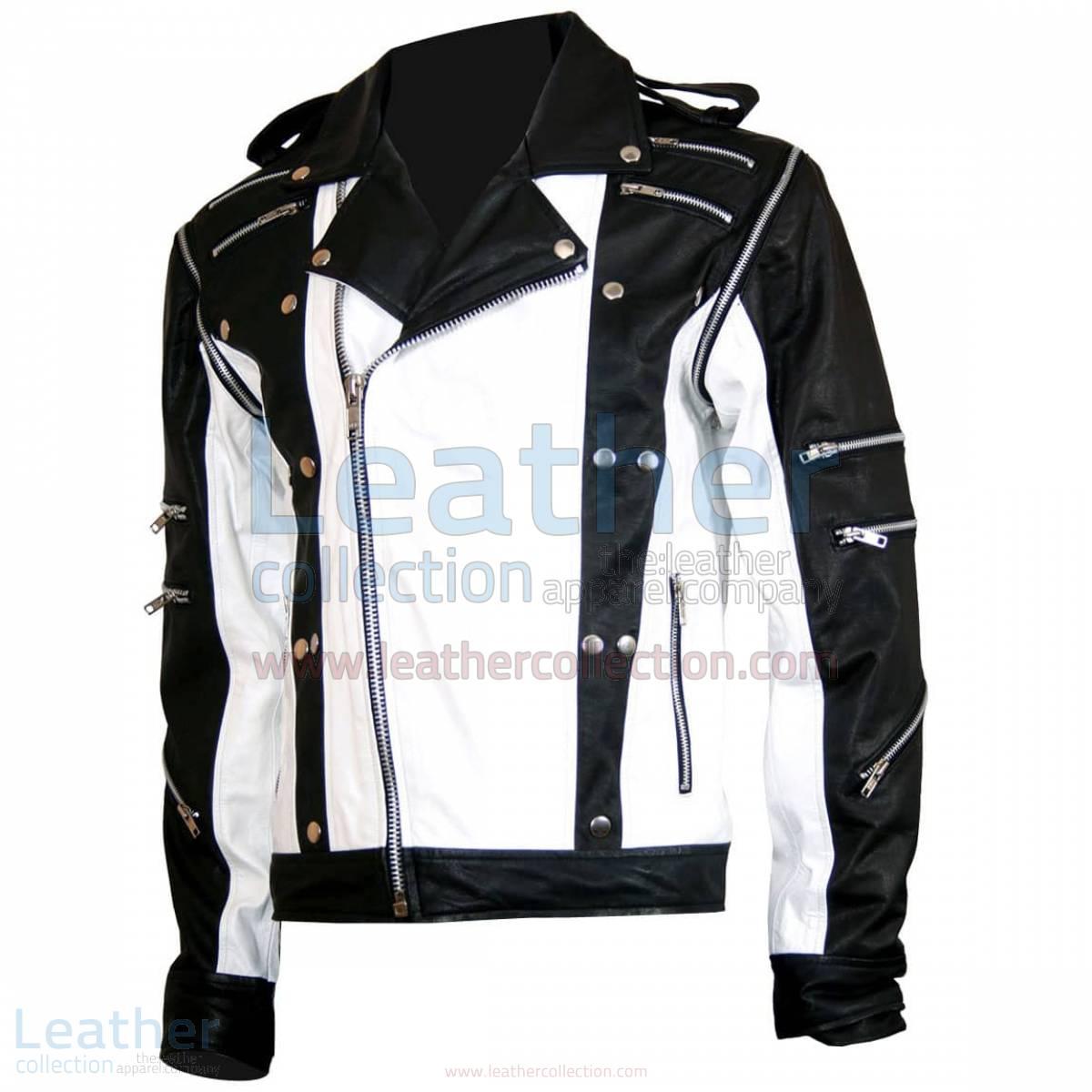 Michael Jackson Pepsi Black & White Leather Jacket –  Jacket