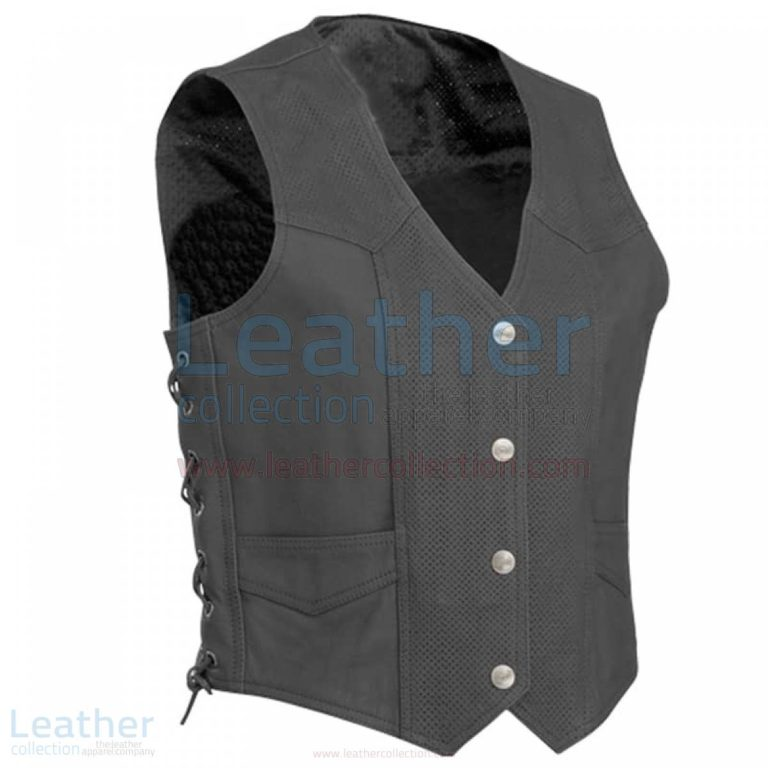 Perforated Motorcycle Leather Vest –  Vest
