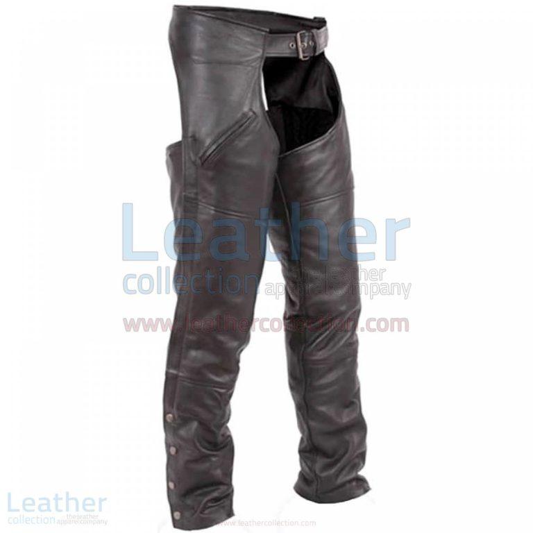 Premium Black Leather Motorbike Chaps –  Chap