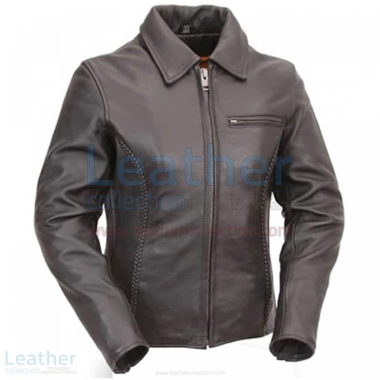 Premium Black Naked Leather Braided Cruiser Motorcycle Jacket –  Jacket