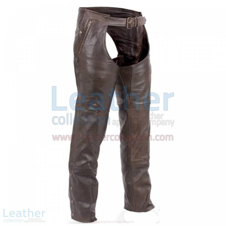 Premium Brown Leather Motorcycle Chaps –  Chap