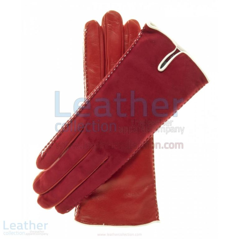 Red Suede Ladies Lambskin Gloves –  Gloves