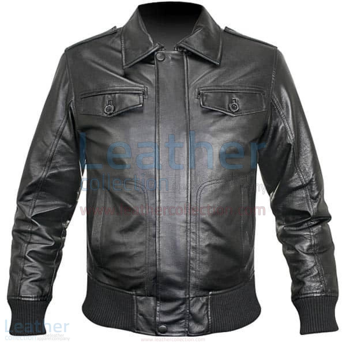 Rib Knit Retro Leather Jacket Mens –  Jacket