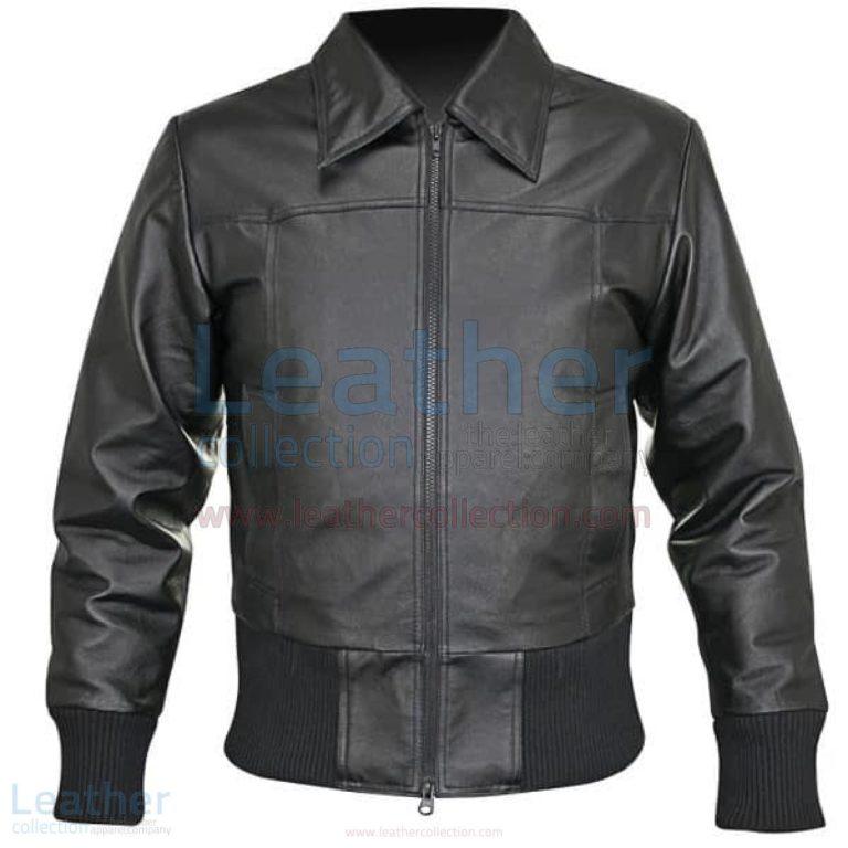 Rib Knit Waist Length Jacket of Leather –  Jacket