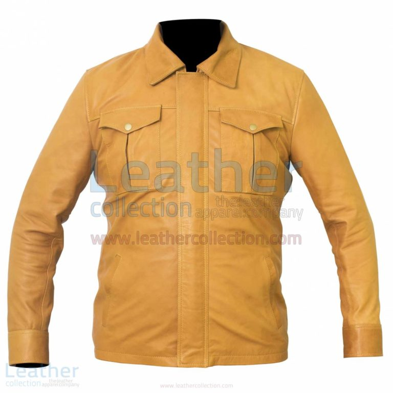 Shirt Style Camel Color Leather Jacket –  Jacket
