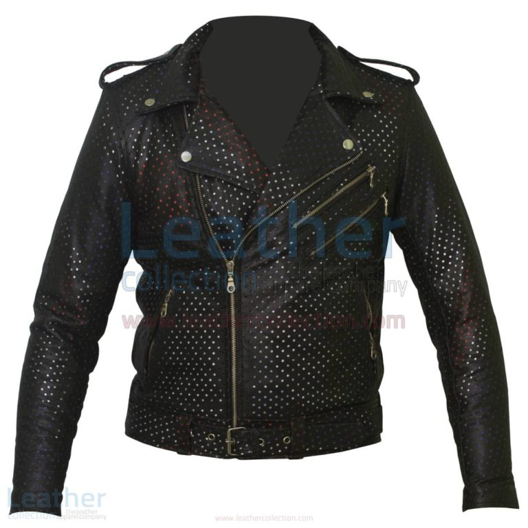 Union Jack Perforated Fashion Leather Jacket –  Jacket