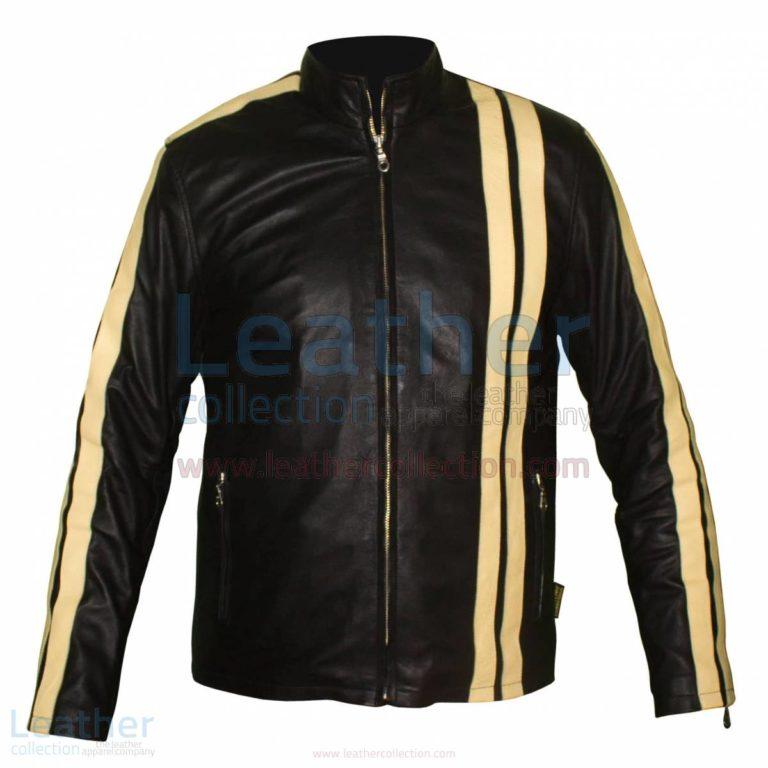 Vertical Stripe Jacket of Leather –  Jacket