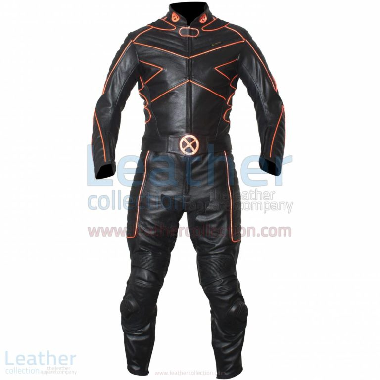 X-MEN Motorcycle Racing Leather Suit with Orange Piping –  Suit
