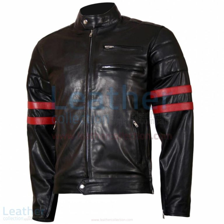 X-Men Wolverine Black with Red Strips Biker Leather Jacket –  Jacket