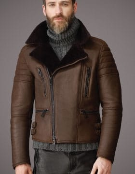 Mens Leather Jacket with fur collar