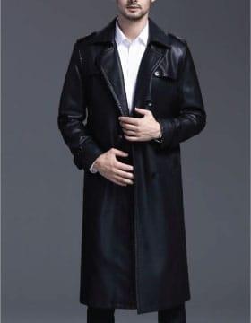 Mens Leather Trench Coat Full Length